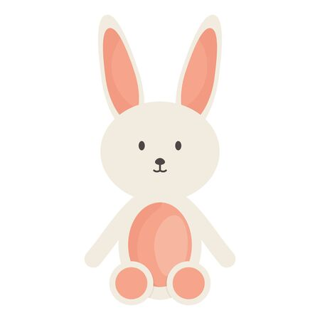 stuffed bunny toy entertainment square frame and birthday elements vector illustration
