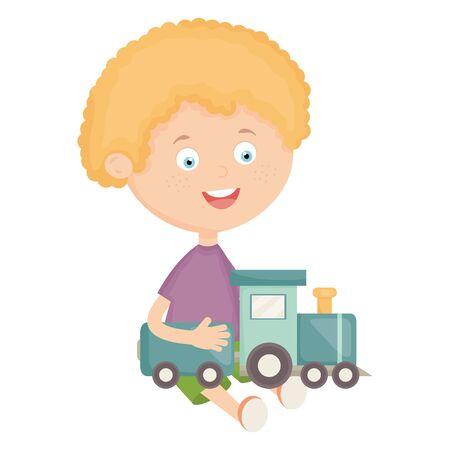 cute little boy with train Stock Vector - 124995738