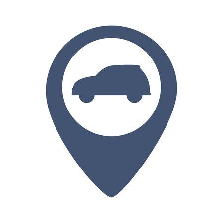 transportation concept car gps location cartoon vector illustration graphic design Çizim