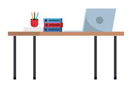 online education work desk cartoon vector illustration graphic design Иллюстрация