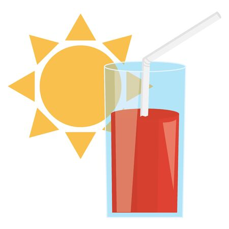 glass of juice fruit and straw with sun vector illustration design