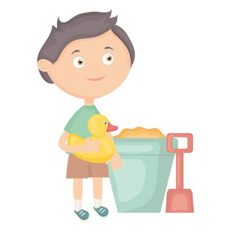 cute little boy with sand bucket and ducky Standard-Bild - 124995703