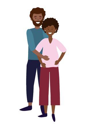 pregnant couple avatar cartoon character vector illustration graphic design Ilustracja