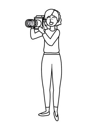 Woman holding Video camera design