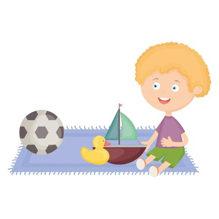 cute little boy with sailboat and toys Illustration