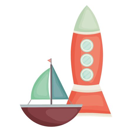 rocket toy and sailboat entertainment square frame and birthday elements vector illustraitor Ilustracja
