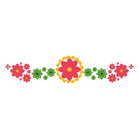 mexican decorative flowers and leafs wreath