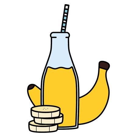 fresh banana slices juice fruit in botttle with straw vector illustration design Illustration