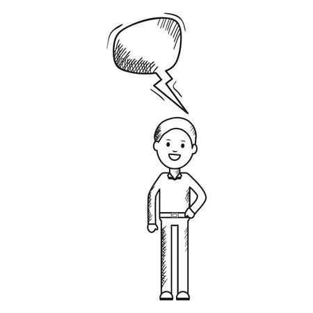 monochrome man with speech bubble avatar character Foto de archivo - 124819422