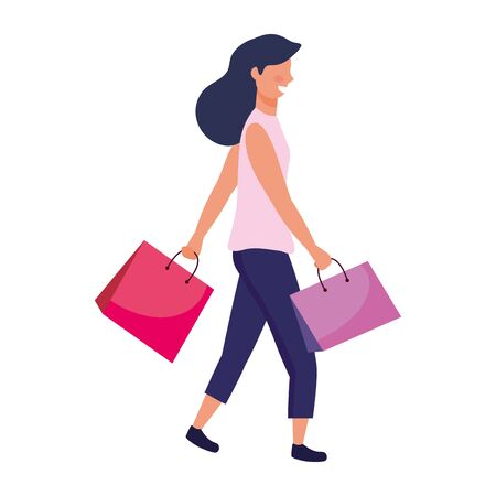 woman with shopping bag icon