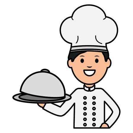 young chef with tray server