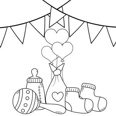 cute baby shower concept elements cartoon vector illustration graphic design Çizim