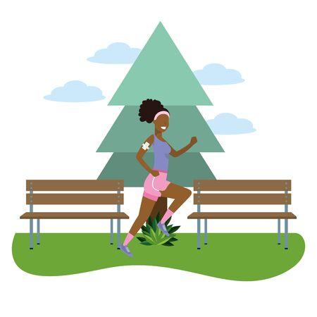 fitness sport train woman running outdoor scene cartoon vector illustration graphic design  イラスト・ベクター素材