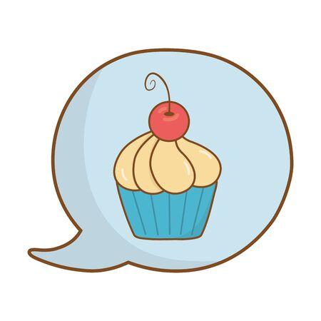 muffin into speech bubble icon cartoon vector illustration graphic design