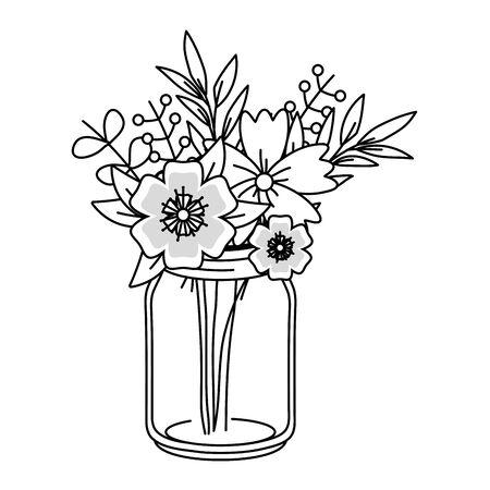 beautiful nature flowers inside decoration mason jar bottle plant pot cartoon vector illustration graphic design Illustration