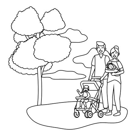 couple with baby carriage avatar cartoon character with children park landscape vector illustration graphic design Illustration