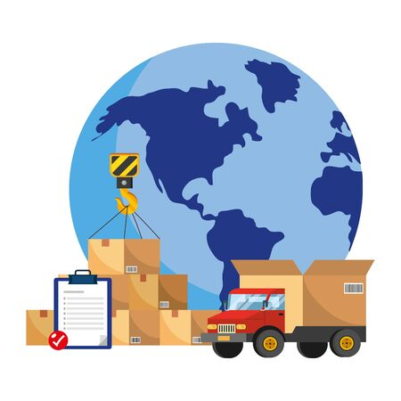 truck with a big box in the back and globe with boxes and checklist vector illustration graphic design