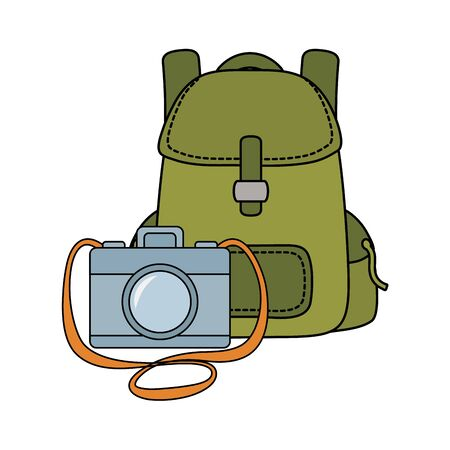 travel bag camping with compass and paper map vector illustration design