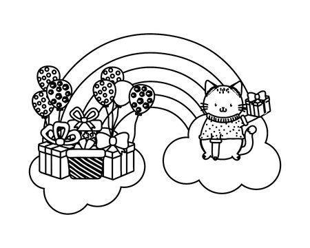 cute adorable animal cat birthday party scene magic festive over clouds with rainbow cartoon vector illustration graphic design