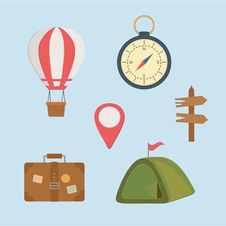 camping zone set icons vector illustration design  イラスト・ベクター素材
