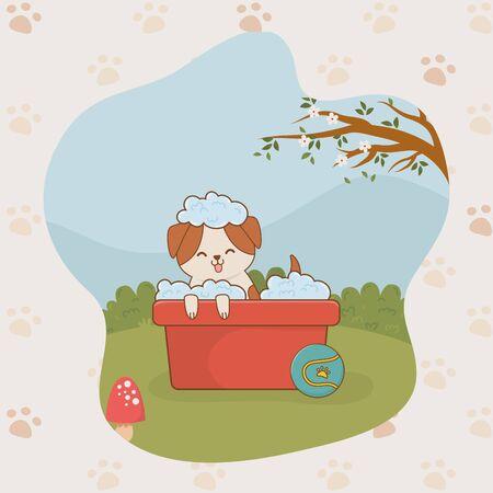 cute little doggy mascot character vector illustration design Ilustracja