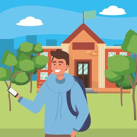 Student man wearing hoodie and texting using smartphone browsing on college or university campus background cityscape background vector illustration graphic design