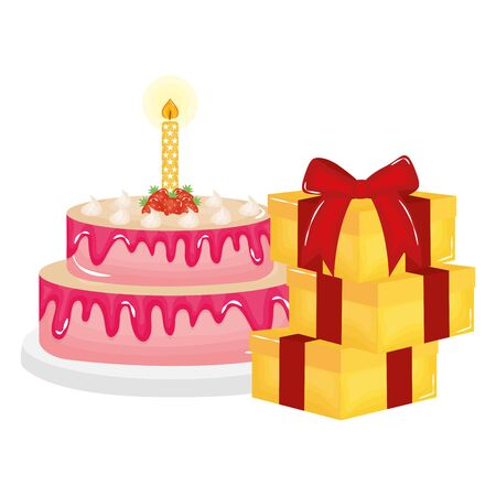 delicious sweet cake with candle and gifts vector illustration design