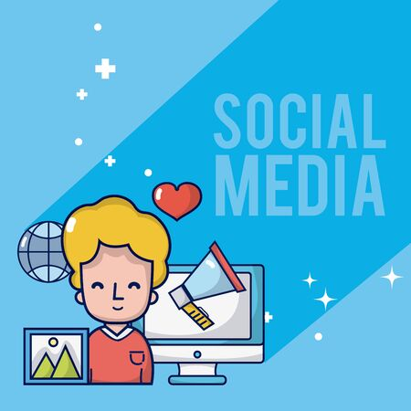 Boy with social media and network symbols cartoons vector illustration graphic design Stock Vector - 124921064
