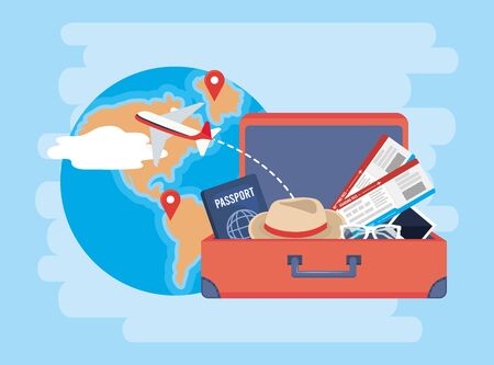 global map with locations signs and briefcase vector illustration