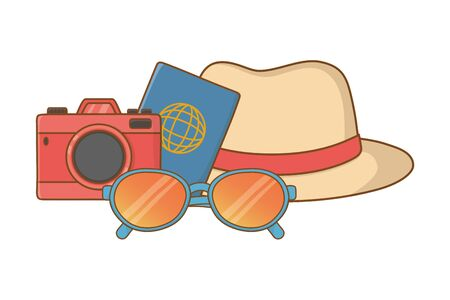Tourist trip summer travel hat sunglasses camera and passport adventure exploration vector illustration graphic design Ilustrace