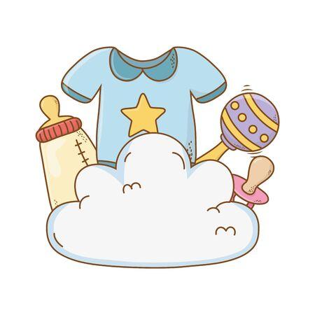 cute baby shower elements cartoon vector illustration graphic design Ilustrace