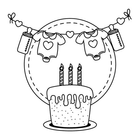 round frame with cake and candles lit, baby clothes hanging from clothesline rope with feeding bottle vector illustration graphic design Иллюстрация