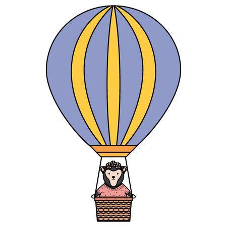 cute female monkey in balloon air hot vector illustration design