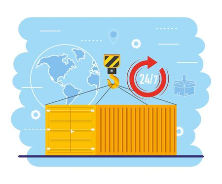 containers with crane hook and global map service vector illustration Illustration