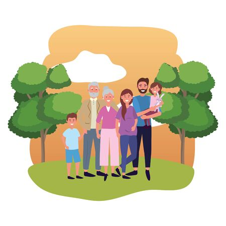 family avatar cartoon character park landscape vector illustration graphic design