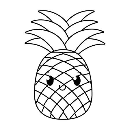 delicious tasty sweet fruit pineapple cartoon vector illustration graphic design Ilustração
