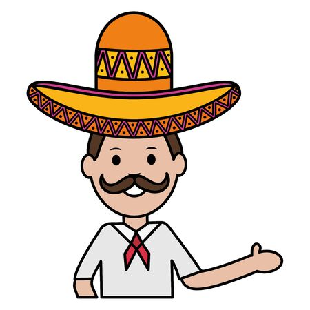 mexican man with mariachi hat vector illustration design