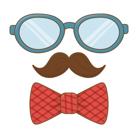 glasses with moustache and tie bow icon cartoon vector illustration graphic design