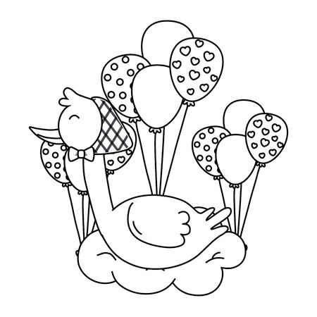 stork wearing a bandana lying over a cloud with balloons vector illustration graphic design