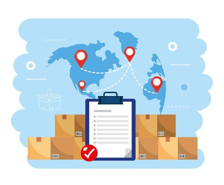 boxes packages with check list and global map vector illustration