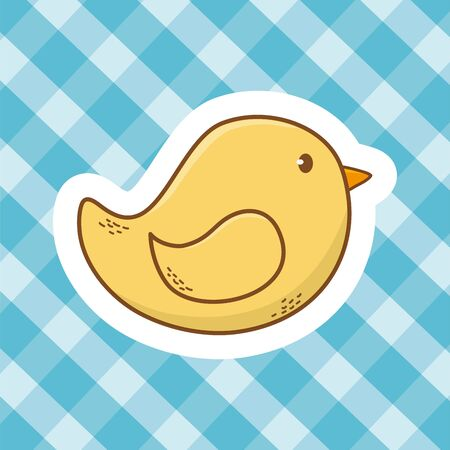 cute baby shower element rubber duck toy cartoon vector illustration graphic design Ilustrace
