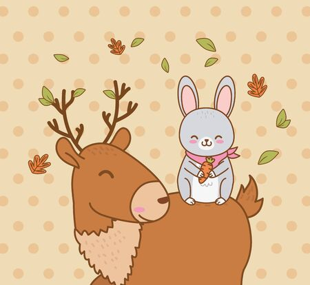 cute reindeer and bunny in the field woodland characters vector illustration design