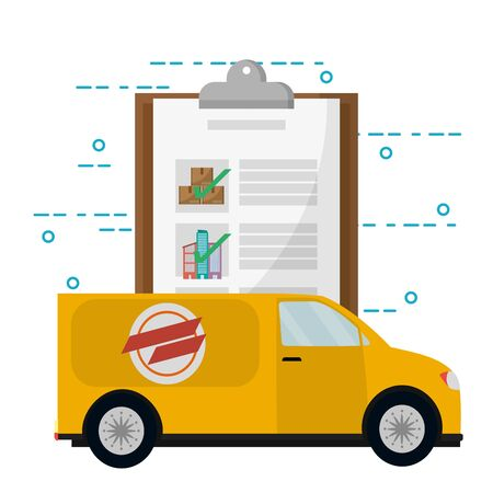 mail order delivery vehicle with clipboard vector illustration graphic design