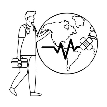 healthcare medical doctor man with world map holding first aid box cartoon vector illustration graphic design Ilustração