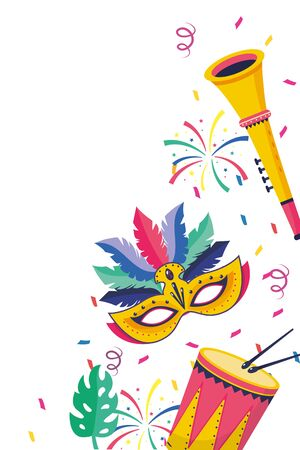 drum with drumsticks and trumpet musical instruments with mask and streamer vector illustration graphic design Imagens - 124921090