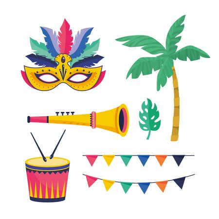 set mask with palm with party banner and drum with trumpet vector illustration