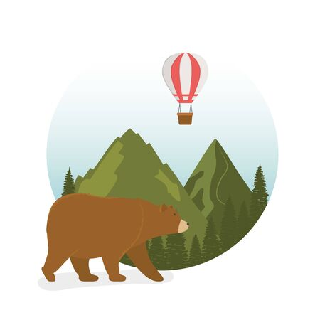 wanderlust label with landscape and bear grizzly scene vector illustration design Иллюстрация