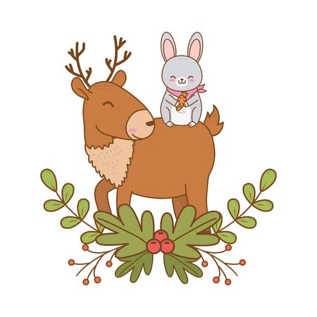 cute rabbit and reindeer woodland characters vector illustration design 일러스트