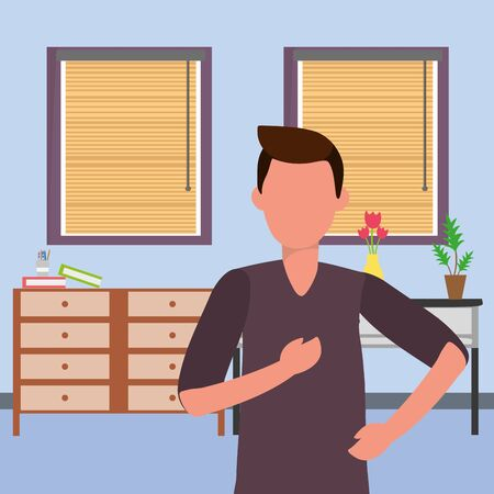 casual happy people man indoor scene at house home with furniture cartoon vector illustration graphic design Stock Vector - 124990833