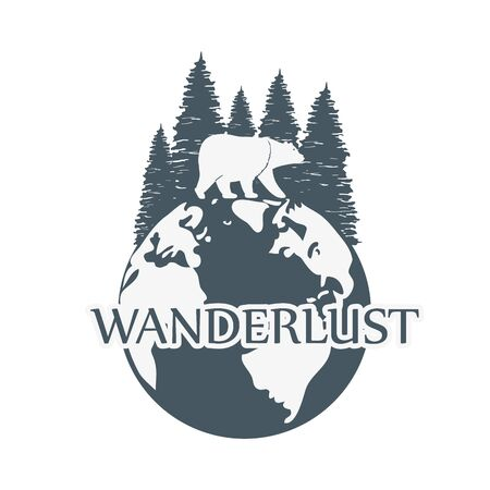 wanderlust label with forest scene and grizzly bear vector illustration design Illustration